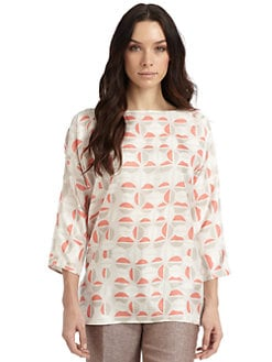 Lafayette 148 New York - Monique Silk Satin Printed Blouse