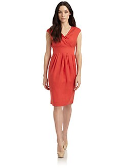Lafayette 148 New York - Linen Pleated Cap Sleeve Dress