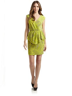 Yoana Baraschi - Feather Print Peplum Waist Dress