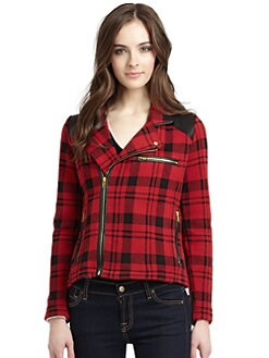 525 america - Cotton Plaid & Leather Jacket
