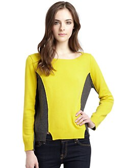 525 america - Cashmere Colorblock Boatneck Sweater