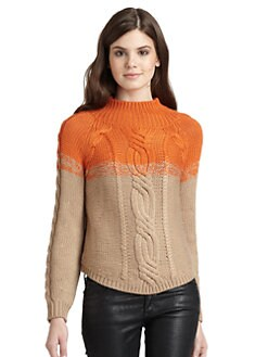 525 america - Colorblock Turtleneck Sweater