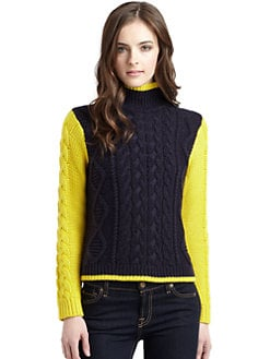 525 america - Tipped Cable Knit Mockneck Sweater