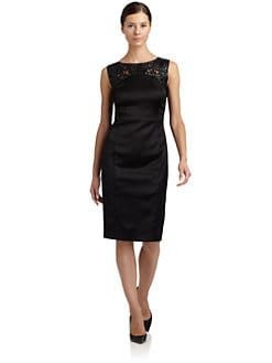 Magaschoni - Sleeveless Leather Lace Yoke Dress