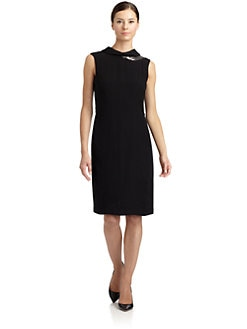 Magaschoni - Beaded Neck Sleeveless Dress