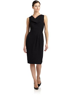 Magaschoni - Cowlneck Sleeveless Sheath Dress
