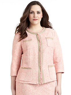 Lafayette 148 New York, Salon Z - Palermo Fringe-Trimmed Cotton Tweed Jacket