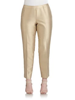 Lafayette 148 New York, Salon Z - Bleeker Cotton & Silk Shantung Straight-Leg Pants