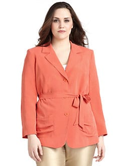 Lafayette 148 New York, Salon Z - Avalon Silk Crepe Belted Jacket