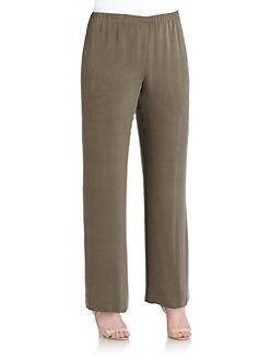 Lafayette 148 New York, Salon Z - Brushed Silk Wide-Leg Pants