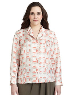 Lafayette 148 New York, Salon Z - Geometric-Print Silk Satin Twill Blouse