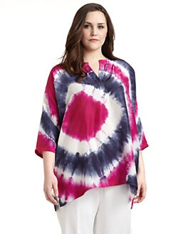 Lafayette 148 New York, Salon Z - Silk Tie Dye-Print Dolman-Sleeved Top