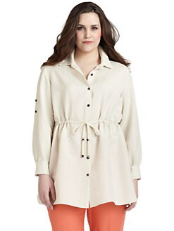 Lafayette 148 New York, Salon Z - Drawstring-Waist Button-Front Tunic