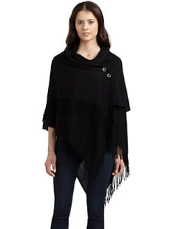Repeat Cashmere - Cotton Draped Fringe Poncho