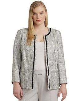 Lafayette 148 New York, Salon Z - Braden Cotton & Linen Tweed Metallic Jacket
