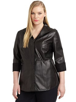 Lafayette 148 New York, Salon Z - Leather Button-Front Shirt