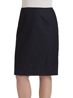 Lafayette 148 New York, Salon Z - Denim Exposed Zip Skirt
