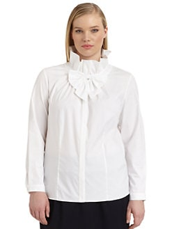 Lafayette 148 New York, Salon Z - Clarissa Ruffled Bow Neck Blouse