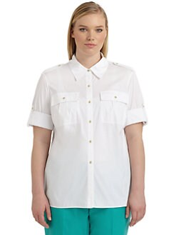 Lafayette 148 New York, Salon Z - Theo Button-Front Blouse