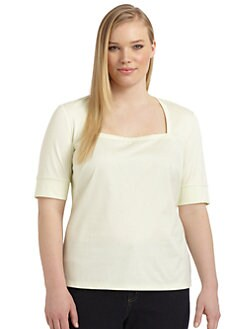 Lafayette 148 New York, Salon Z - Cotton Squareneck Top