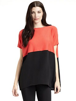 Josie Natori - Rewa Silk & Cotton Colorblock Top