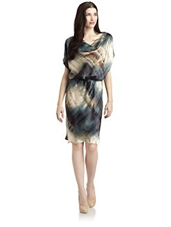 Josie Natori - Khara Silk Satin Abstract Dress