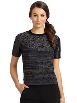 Rachel Roy - Leather & Wool Top