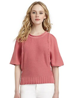 Cullen - Cotton Knit Open Shoulder Sweater