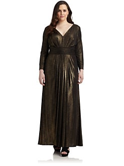 David Meister, Salon Z - Foil-Print Gathered Gown