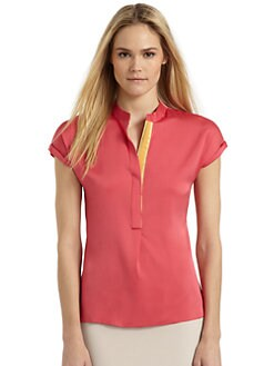 Elie Tahari - Hailey Stretch Silk Short-Sleeve Blouse