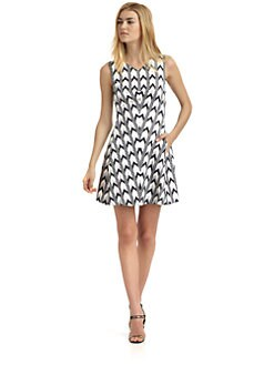 Rachel Roy - Tulip Cotton & Silk Abstract Chevron Dress