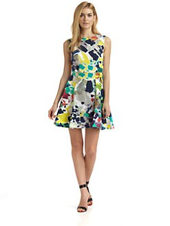 Rachel Roy - Cotton & Silk Abstract A-Line Dress