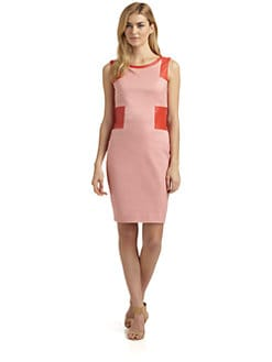 Rachel Roy - Jacquard & Perforated Leather Sheath Dress