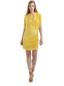 Alexia Admor - Draped Dolman Sleeve Dress/Yellow