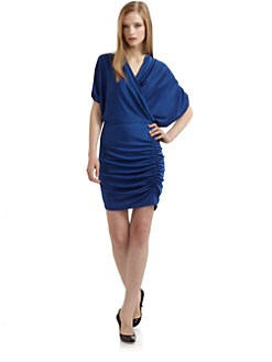 Alexia Admor - Draped Dolman Sleeve Dress/Blue