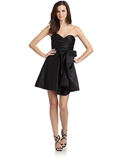 ABS - Satin Strapless Bow Cocktail Dress