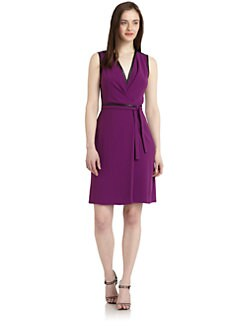 Rachel Roy - Contrast-Trim Belted Wrap Dress