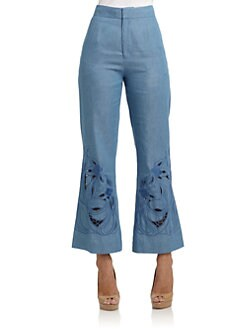 Vivienne Tam - Cotton Embroidered Detail Flared Pants