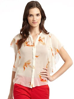Vivienne Tam - Printed Silk Handkerchief Blouse