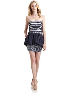 BCBGMAXAZRIA - Sequin Stripe Strapless Dress