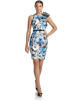 Carmen Marc Valvo - Silk Satin Floral Sheath Dress