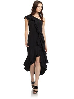 Carmen Marc Valvo - Silk Georgette One-Shoulder Ruffle Gown