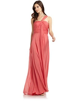 Carmen Marc Valvo - Silk Chiffon One-Shoulder Gown
