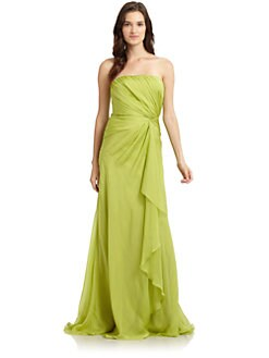 Carmen Marc Valvo - Side Ruched Chiffon Long Gown