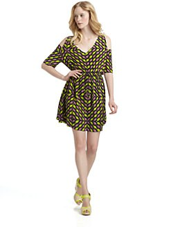 Ali Ro - Silk Zigzag Print Cutout Shoulder Dress