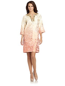 Badgley Mischka - Ombre Embellished Sheath Dress