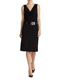 Josie Natori - Belted Draped Jersey Dress