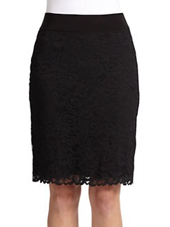 Josie Natori - Dragon Lace Pencil Skirt