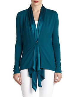 Josie Natori - Baya Silk/Cotton Satin-Collar Cardigan