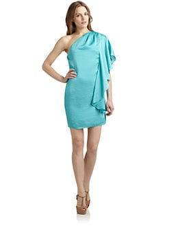 ABS - One Shoulder Flutter Dress